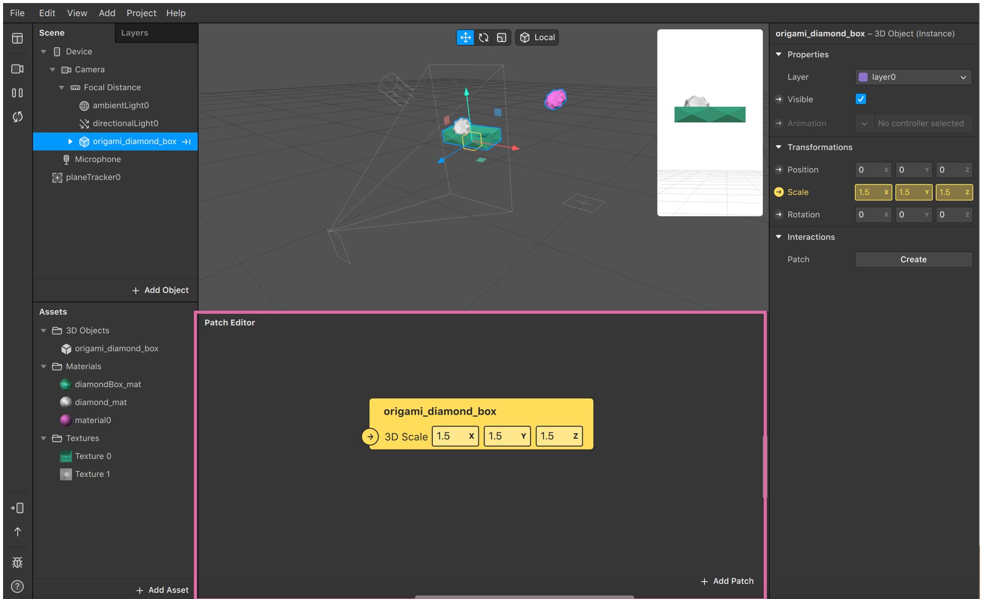 patch editor console per creare filtri